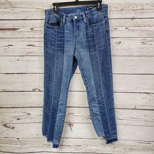 Blank NYC Skinny Step Hem Color Block Jeans
